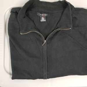 Synrgy zip up black sweater
